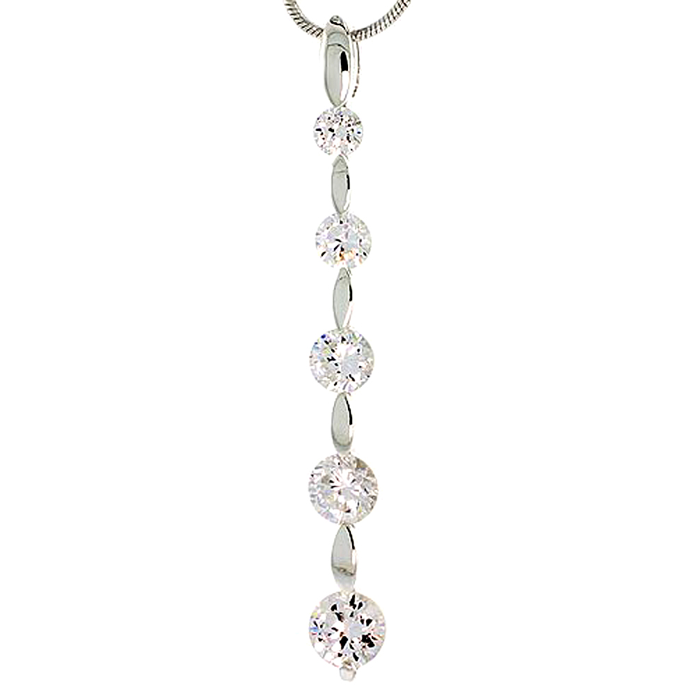 """Sterling Silver Graduated Journey Pendant w/ 5 High Quality CZ Stones, 1 13/16 (47 mm) tall"""""""