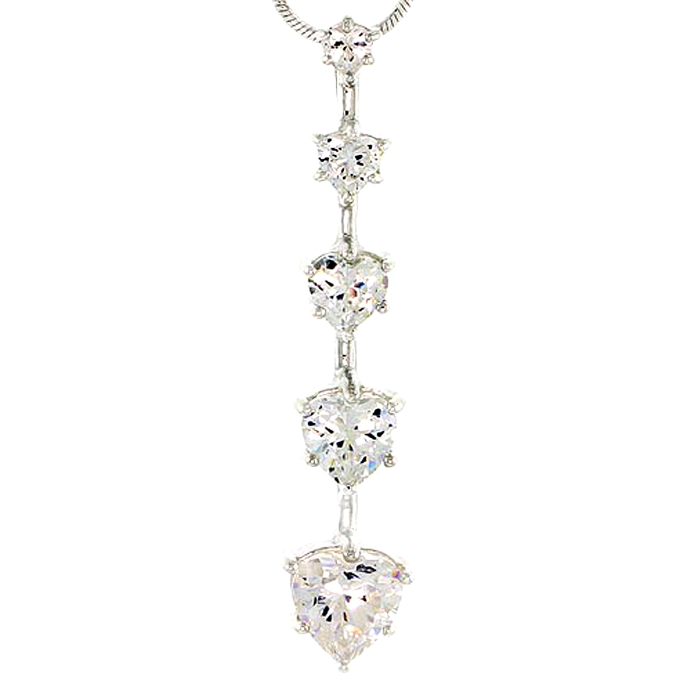 """Sterling Silver Graduated Journey Pendant w/ 5 Heart-shaped High Quality CZ Stones, 1 5/8 (42 mm) tall"""""""