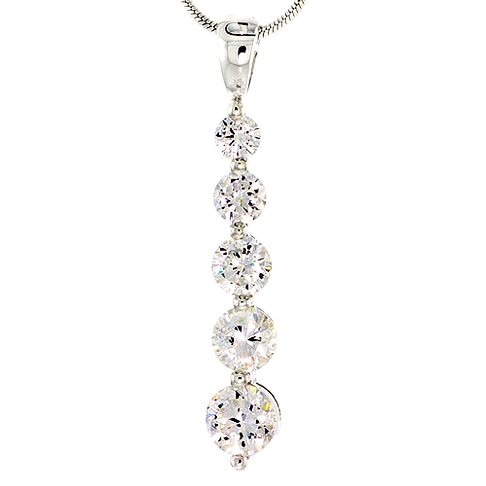 """Sterling Silver Graduated Journey Pendant w/ 5 High Quality CZ Stones, 1 1/16 (27 mm) tall"""""""