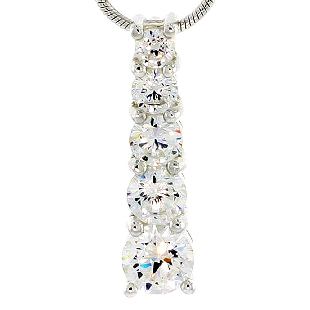 """Sterling Silver Graduated Journey Pendant w/ 5 High Quality CZ Stones, 1 (25 mm) tall"""""""