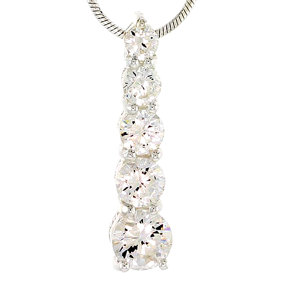 """Sterling Silver Graduated Journey Pendant w/ 5 High Quality CZ Stones, 15/16 (23 mm) tall"""""""