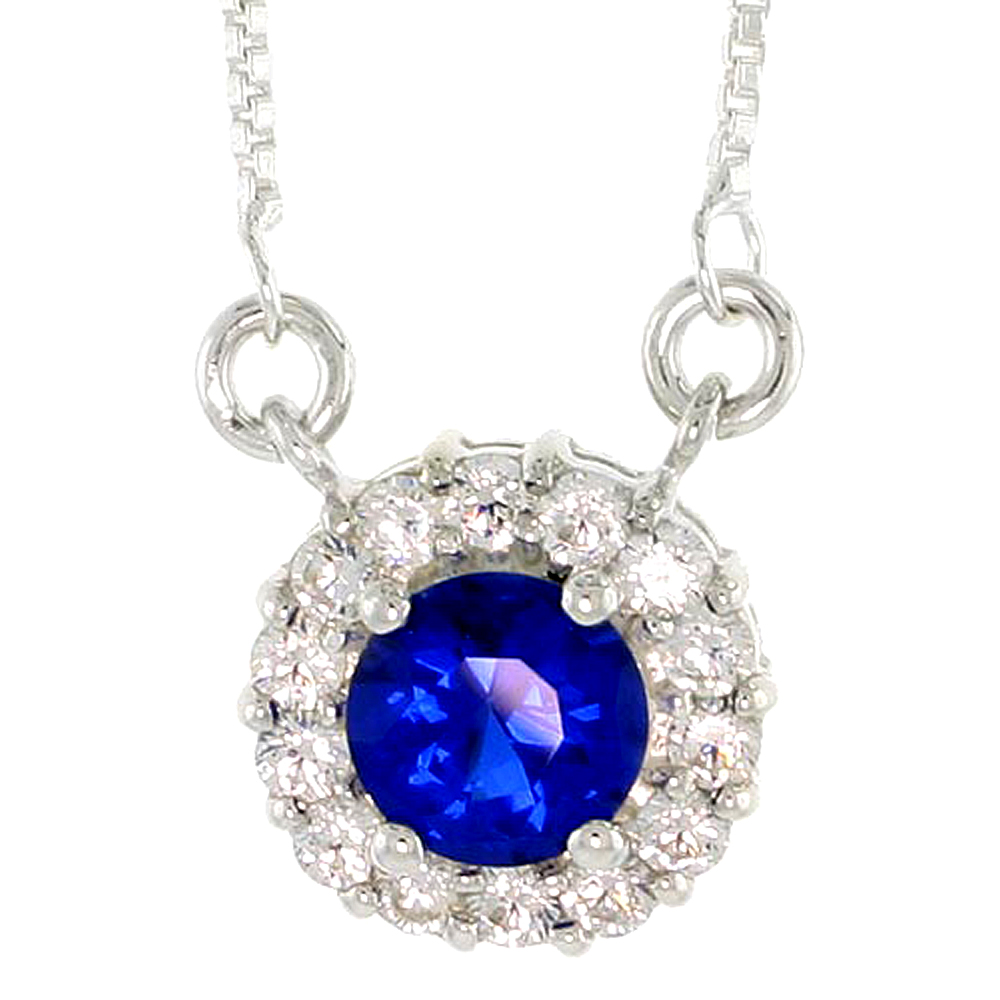 """Sterling Silver Journey Pendant w/ 7mm Round Cut Synthetic Sapphire & High Quality CZ Stones, 1/2 (13 mm) tall"""""""