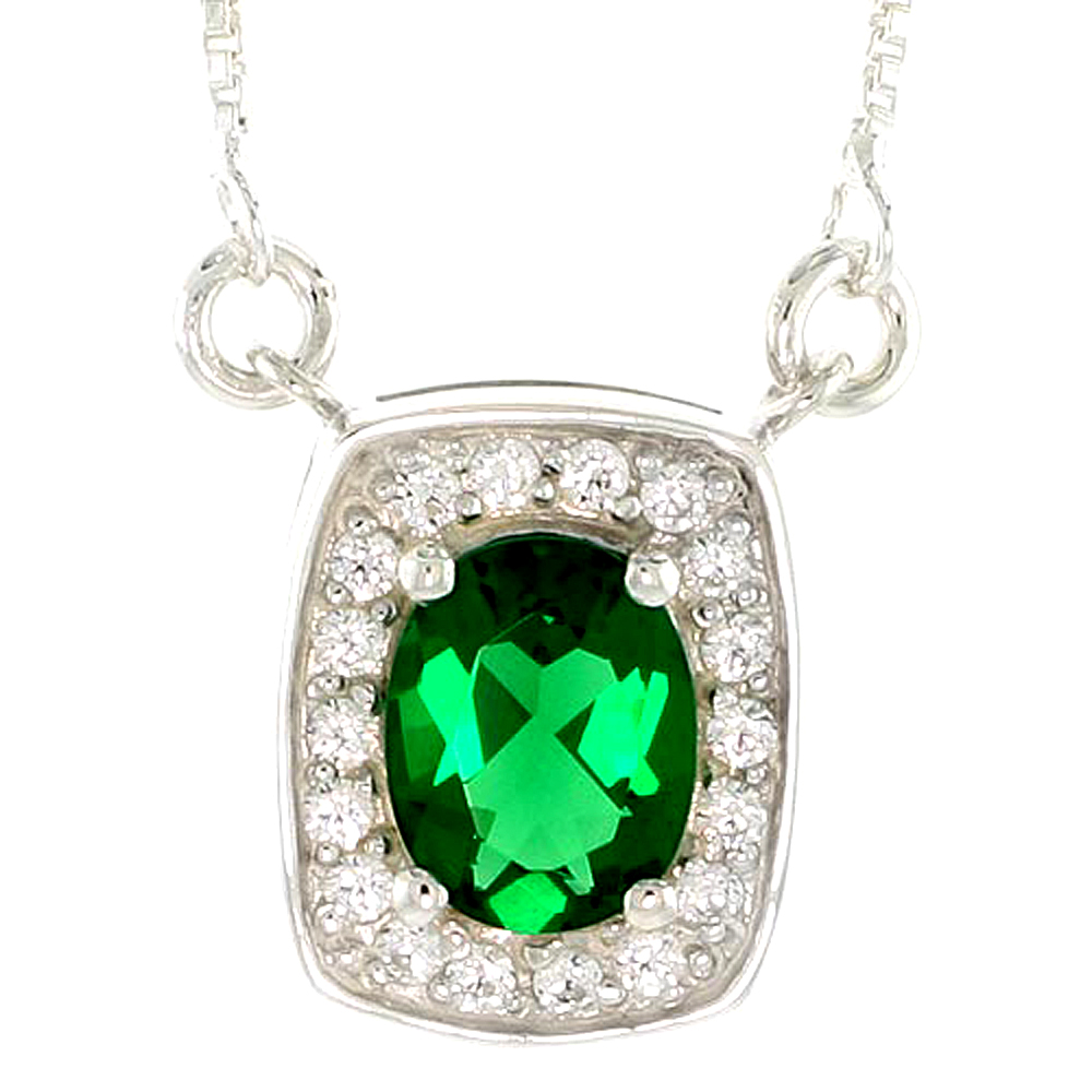 """Sterling Silver Journey Pendant w/ 9x7mm Oval Cut Synthetic Emerald & High Quality CZ Stones, 9/16 (15 mm) tall"""""""