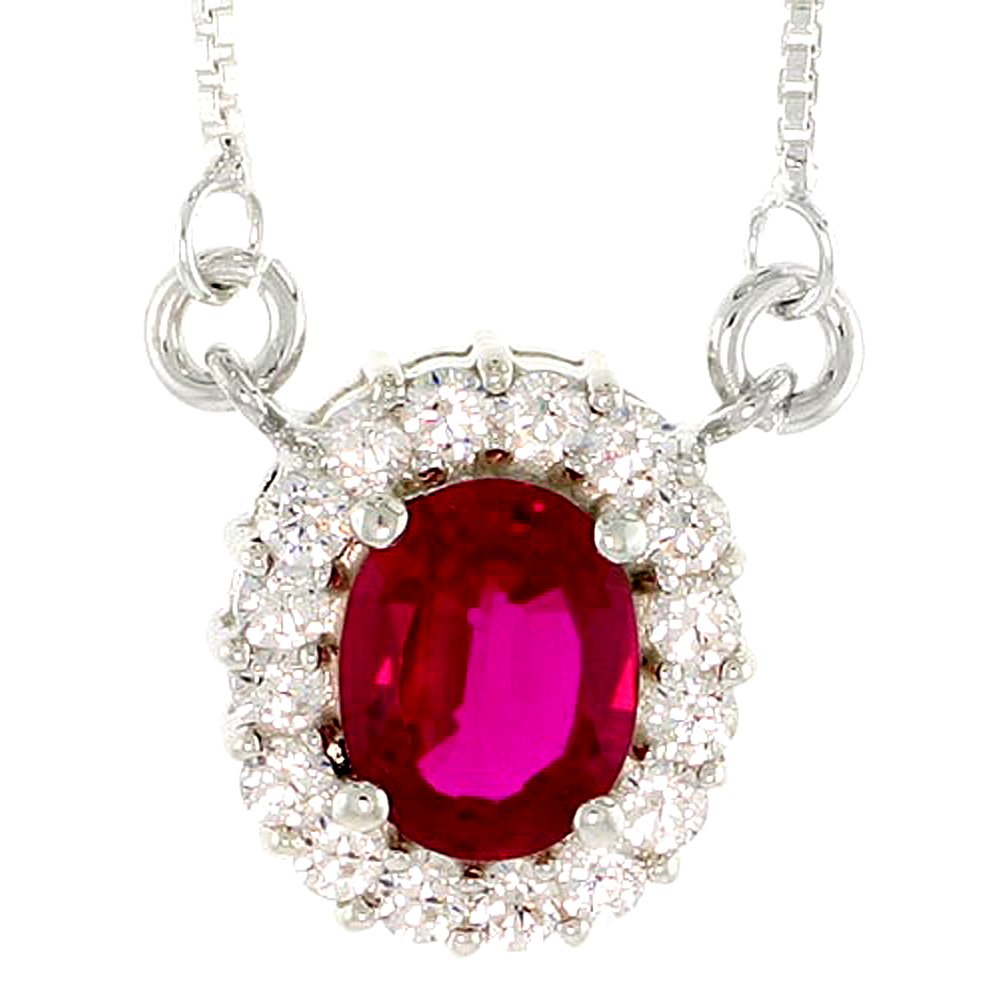 """Sterling Silver Journey Pendant w/ 9x7mm Oval Cut Synthetic Ruby & High Quality CZ Stones, 9/16 (14 mm) tall"""""""