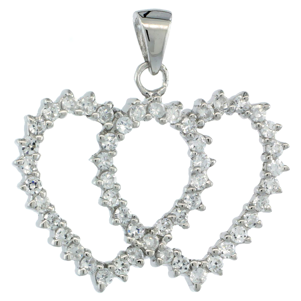 Sterling Silver Double Heart Cut Out Pendant w/ Cubic Zirconia Stones, 13/16 in. (21 mm) tall