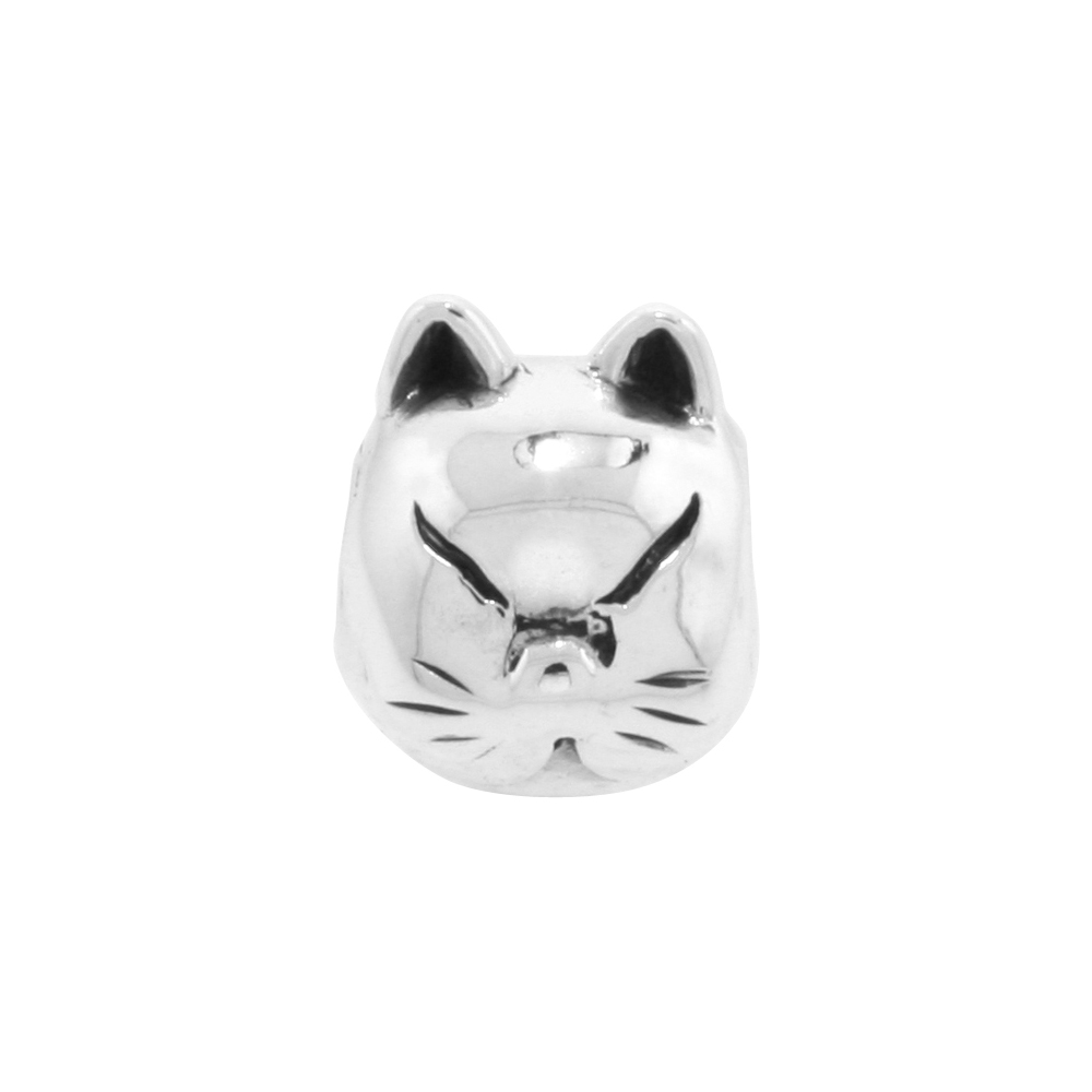 Sterling Silver Cat Face Bead Charm for most Charm Bracelets