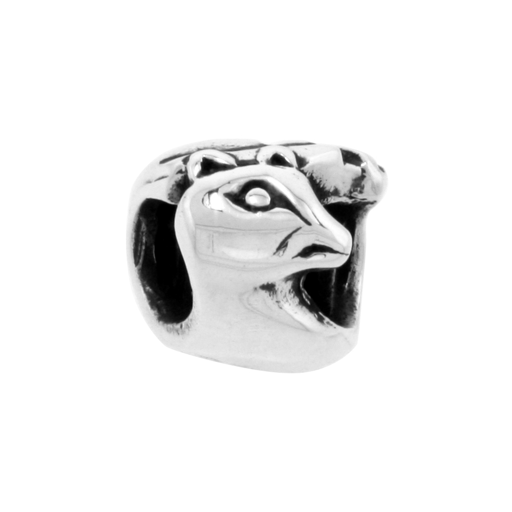 Sterling Silver Panther Bead Charm for most Charm Bracelets
