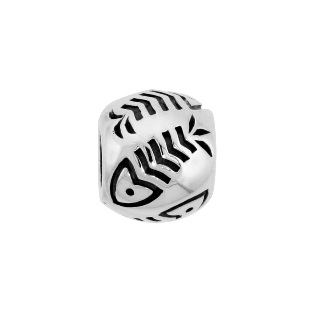 Sterling Silver Fish Bone Barrel Bead Charm for most Charm Bracelets