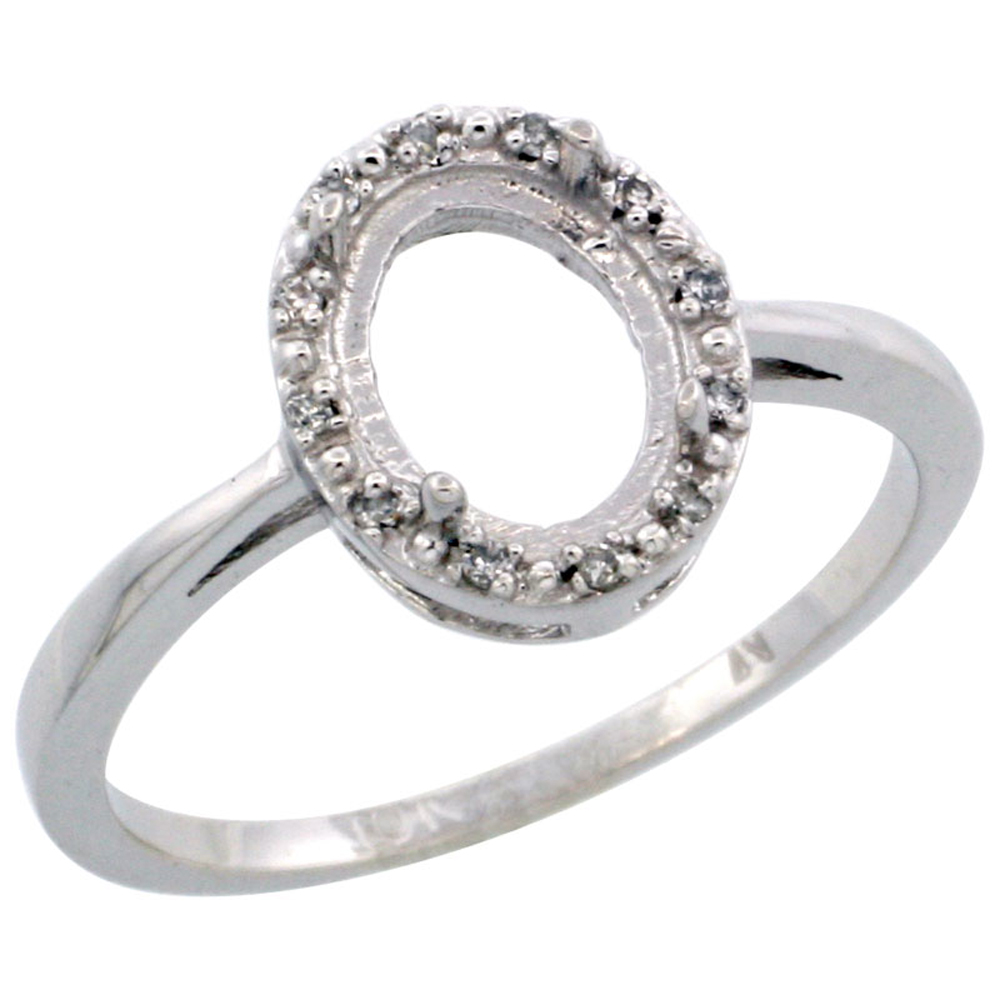 Sabrina Silver 10k White Gold Semi-Mount Ring ( 8x6 mm ) Oval Stone & 0.05 ct Diamond Accents, sizes 5 ...