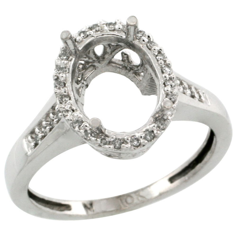Sabrina Silver 10k White Gold Semi-Mount Ring ( 10x8 mm ) Oval Stone & 0.087 ct Diamond Accent, sizes 5 ...