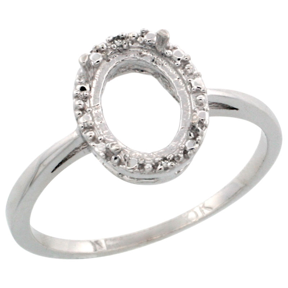 Sabrina Silver 10k White Gold Semi-Mount Ring ( 8x6 mm ) Oval Stone & 0.04 ct Diamond Accent, sizes 5 ...