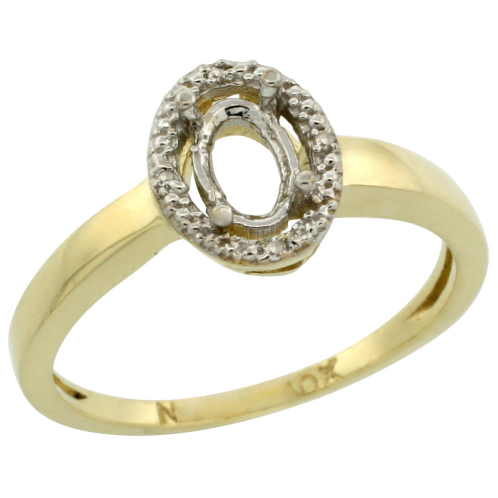 Sabrina Silver 10k Yellow Gold Semi-Mount Ring ( 6x4 mm ) Oval Stone & 0.01 ct Diamond Accent, sizes 5 ...