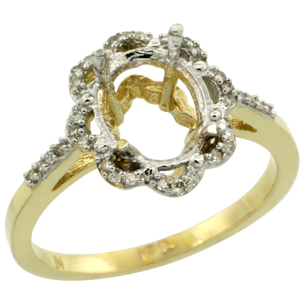 Sabrina Silver 10k Yellow Gold Semi-Mount Floral Ring ( 9x7 mm ) Oval Stone & 0.09 ct Diamond Accent, sizes ...