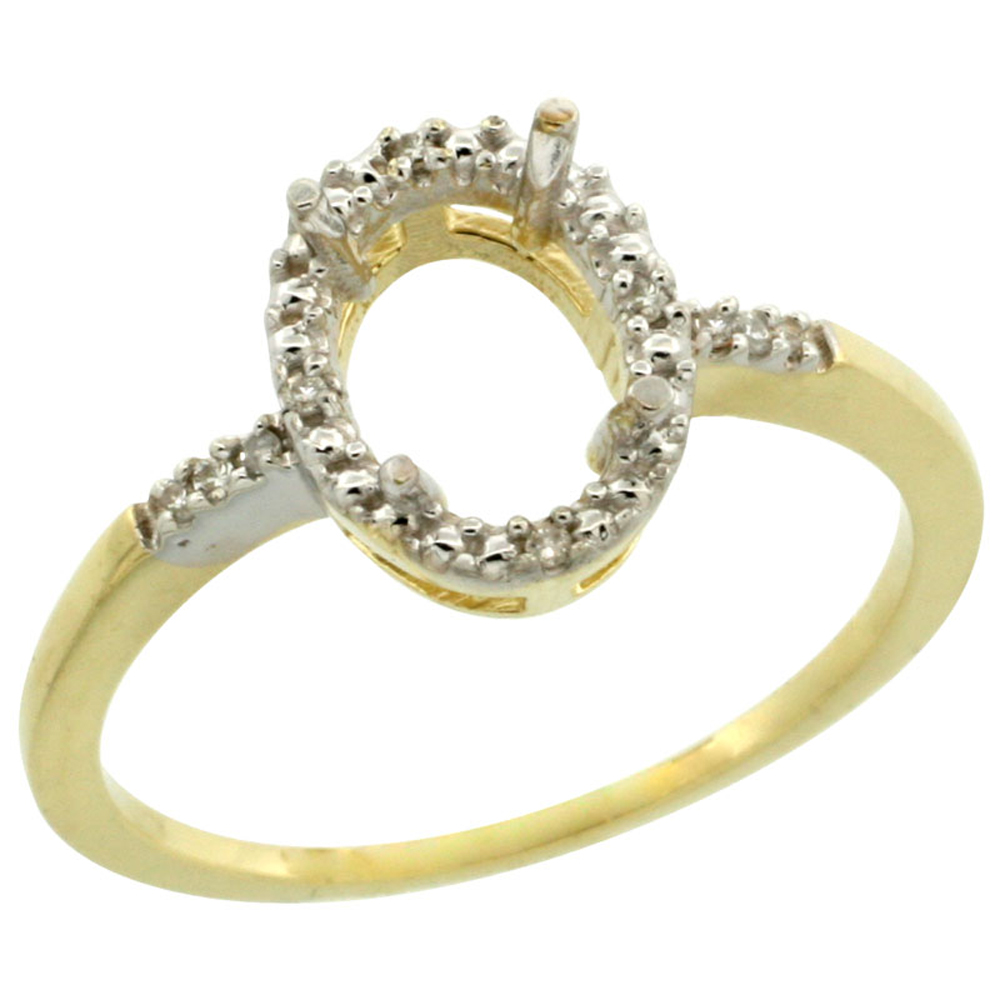 Sabrina Silver 10k Yellow Gold Semi-Mount Ring ( 8x6 mm ) Oval Stone & 0.03 ct Diamond Accent, sizes 5 ...
