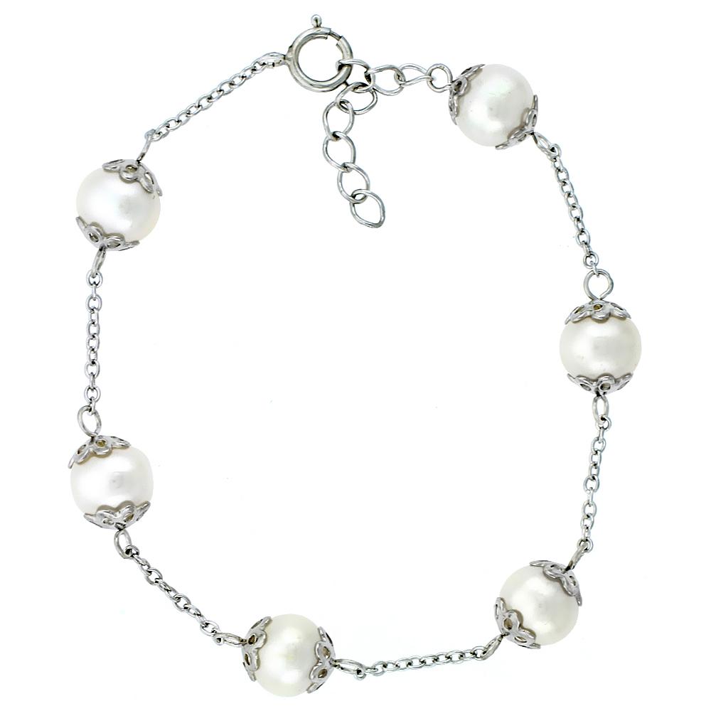 Sterling Silver Pearl Bracelet 8 mm Freshwater, 7 inch long + 1 in. Extension