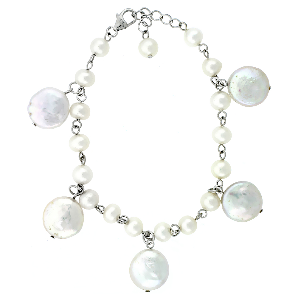 Sterling Silver Pearl Bracelet 14 mm and 5 mm Freshwater, 6.5 inch long + 1 in. Extension