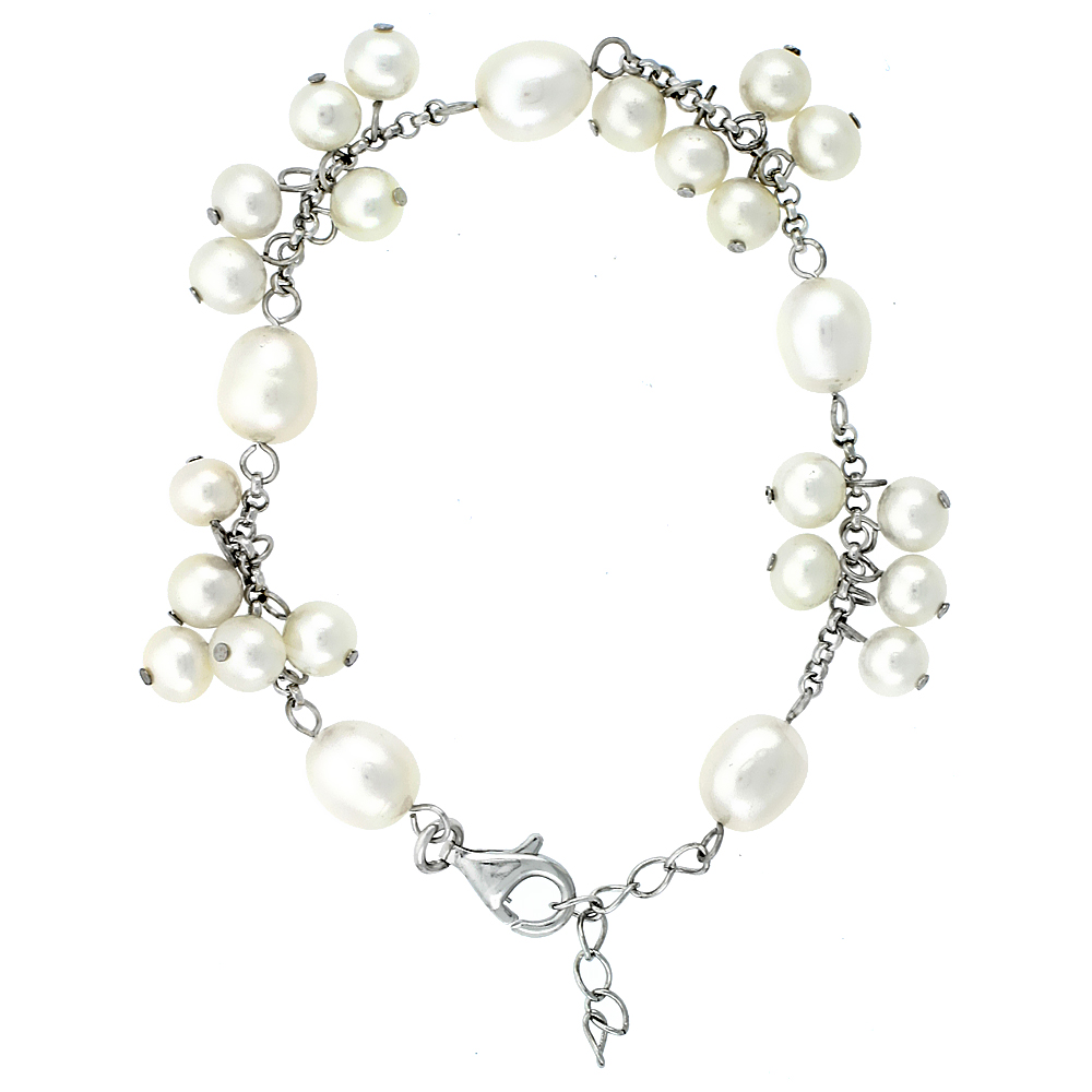 Sterling Silver Pearl Bracelet 8.5 and 5 mm Freshwater, 7 inch + 1 in. Extension