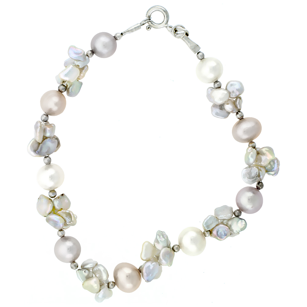 Sterling Silver Pearl Bracelet 5 mm and 7.5 mm Freshwater, 8 inch long