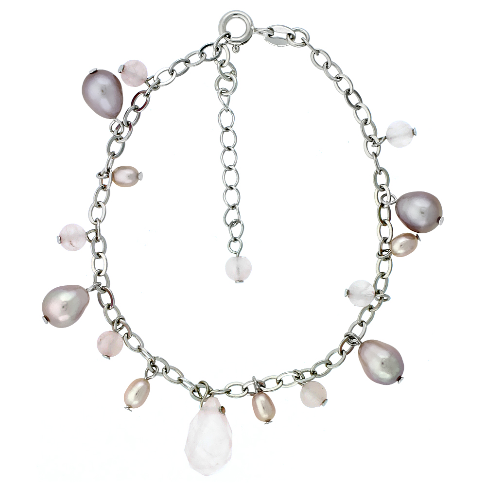 Sterling Silver Pearl & Rose-Quartz Bracelet 8 mm Freshwater & 4 mm Rose Quartz, 7.5 inch + 1 in. Extension
