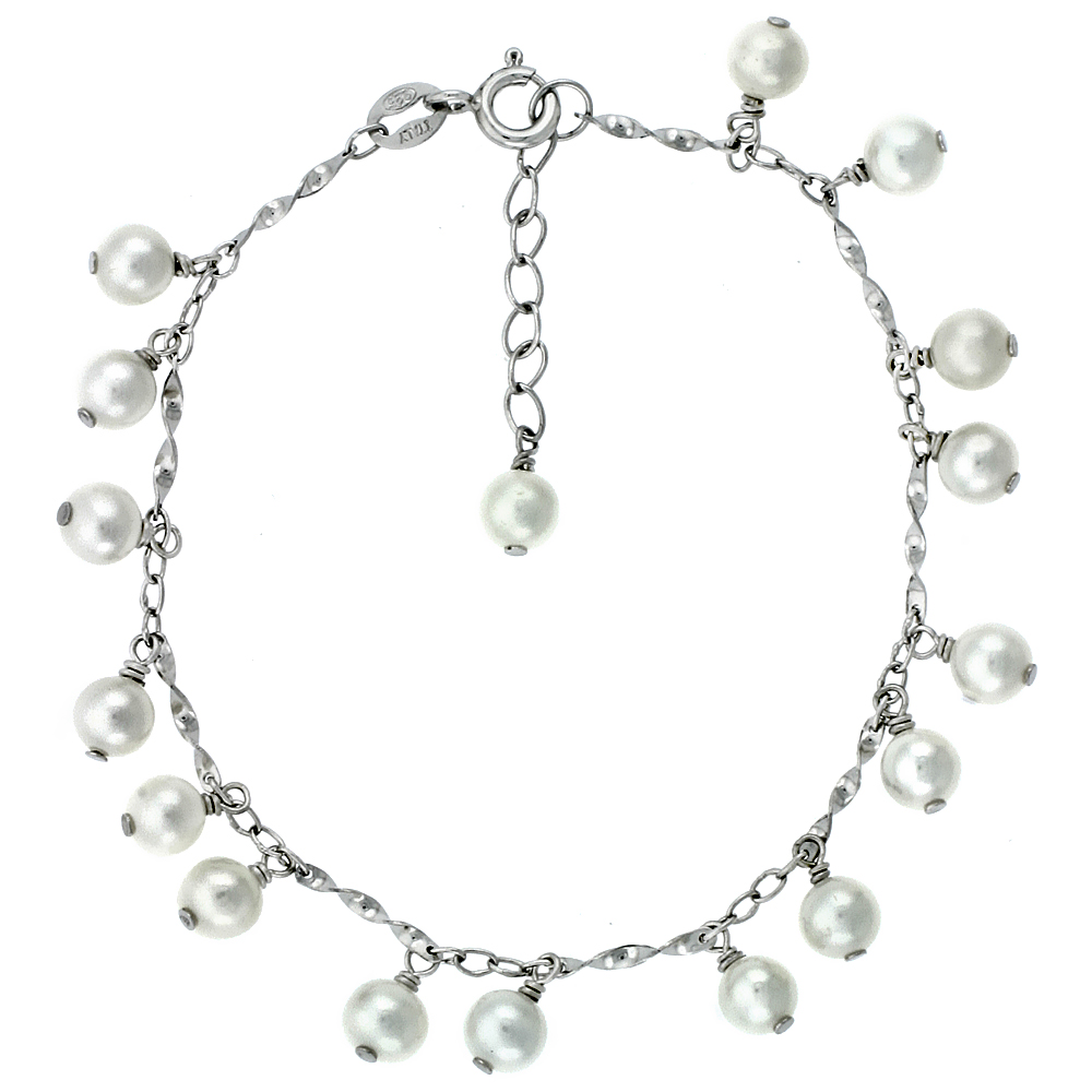 Sterling Silver Pearl Bracelet 5.5 mm Freshwater, 6 inch + 1.5 inch Extension