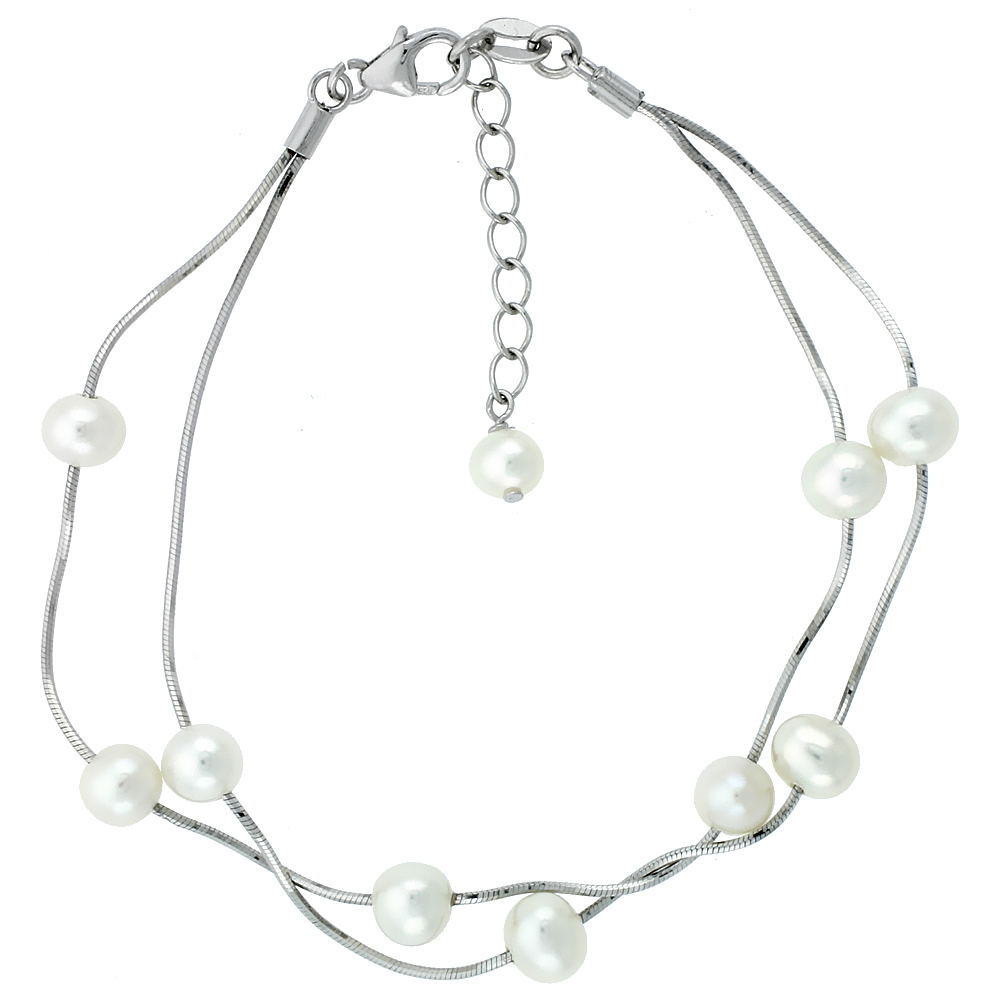 Sterling Silver Pearl Bracelet 6 mm and 5 mm Freshwater, 7.5 inch + 1 in. Extension