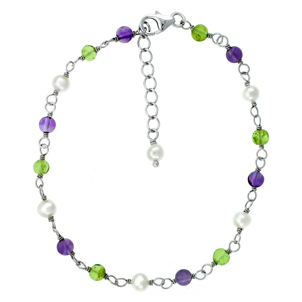 Sterling Silver Pearl, Amethyst and Peridot Beads Bracelet 4 mm Freshwater, 7 inch + 1 in. Extension