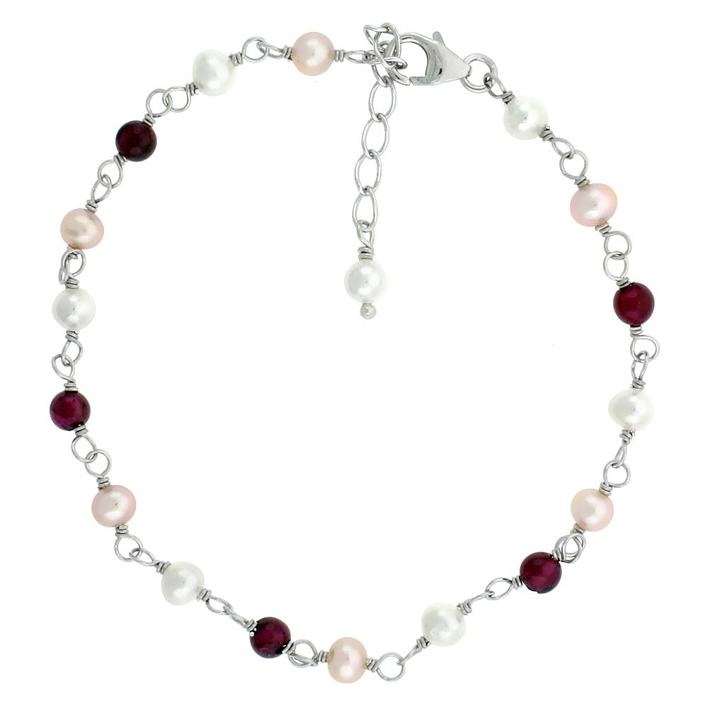 Sterling Silver Pearl & Garnet Beads Bracelet 4 mm Freshwater, 7 inch + 1 in. Extension