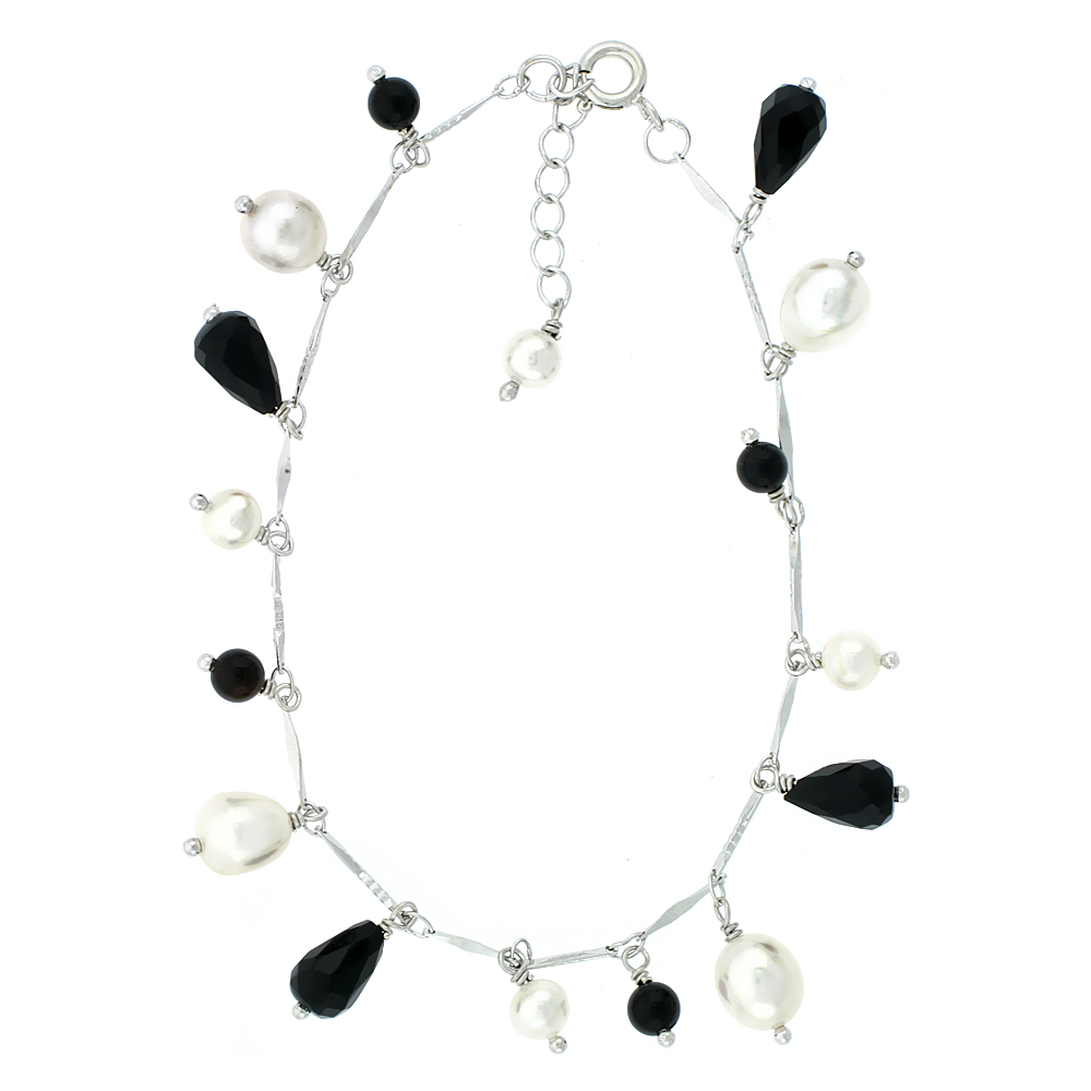 Sterling Silver Pearl Bracelet 5 mm and 8 mm Freshwater 4 mm and 9mm Onyx, 7 inch + 1 in. Extension