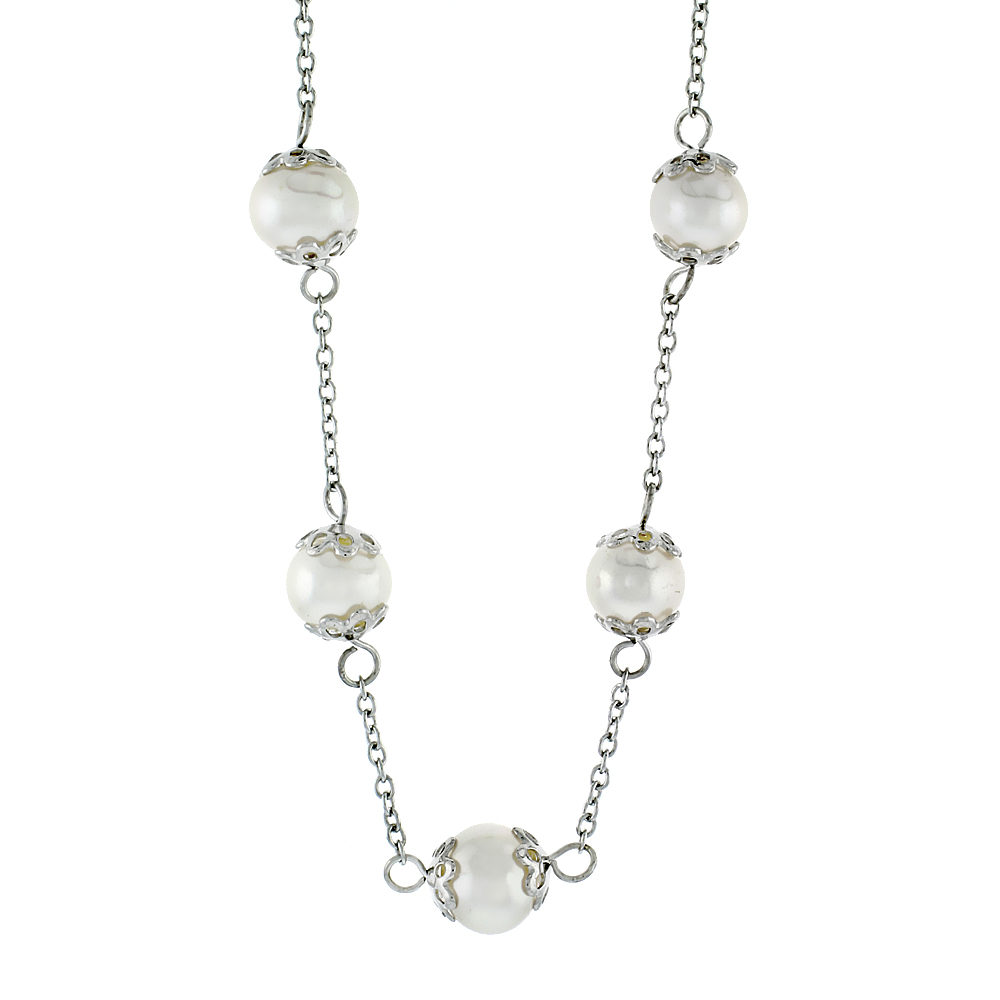 Sterling Silver Pearl Necklace 8 mm Freshwater, 17 inch long