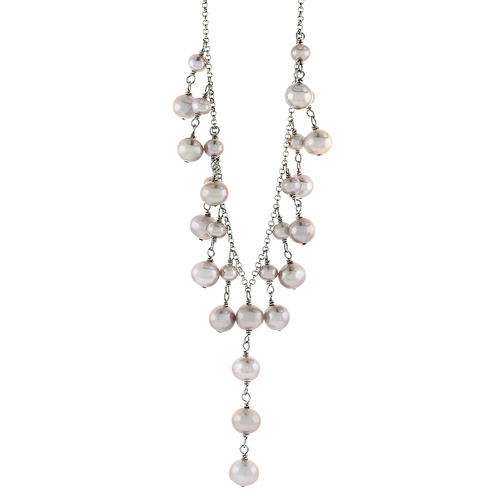 Sterling Silver Pearl Necklace 7.5 mm and 5 mm Freshwater, 16 inch long