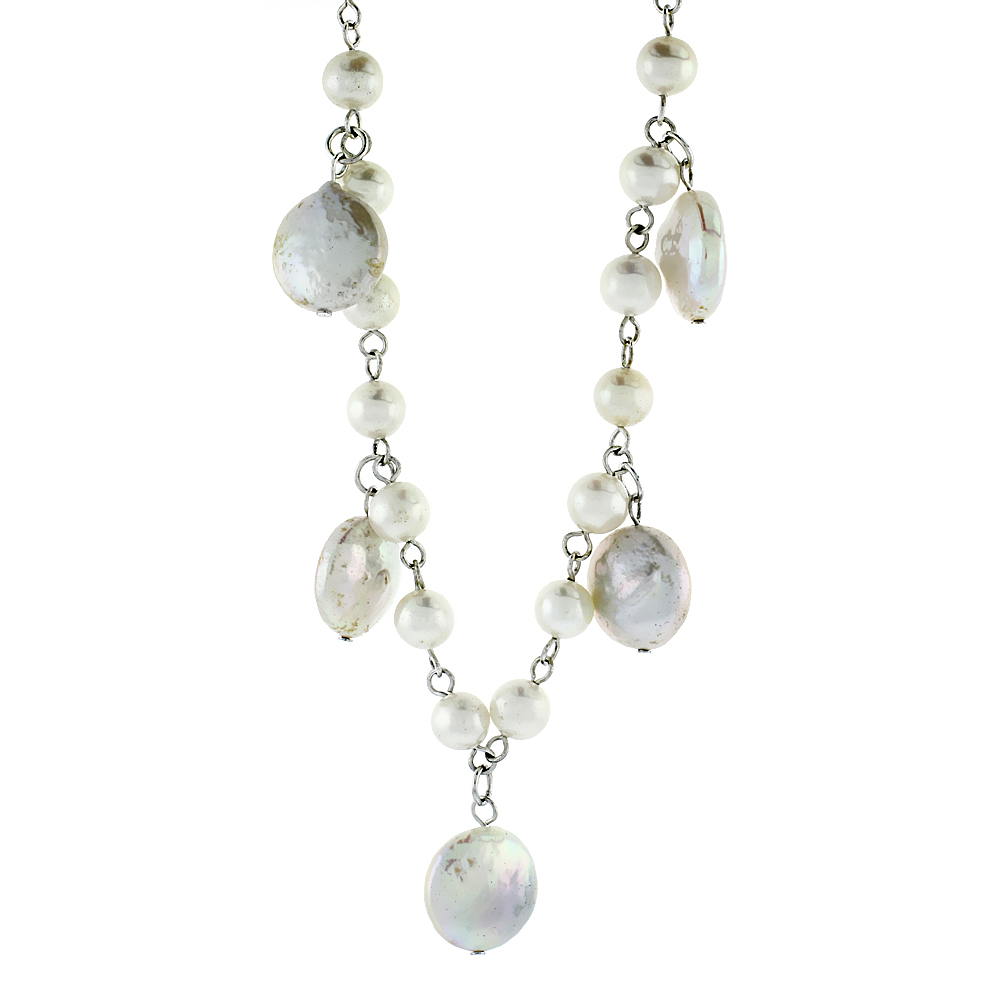 Sterling Silver Pearl Necklace 14 mm Coin and 5 mm Round Freshwater, 16 inch long