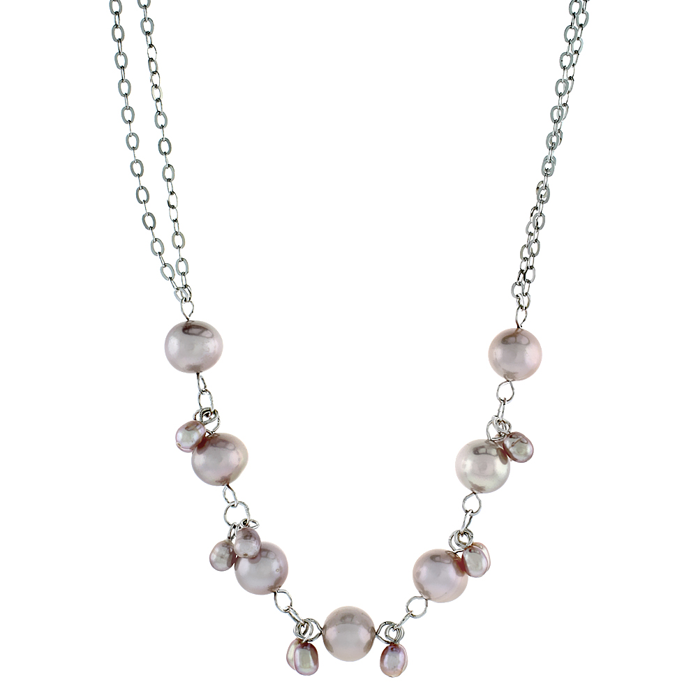 Sterling Silver Pearl Necklace 8 mm and 5.5 mm Freshwater, 16.5 inch long