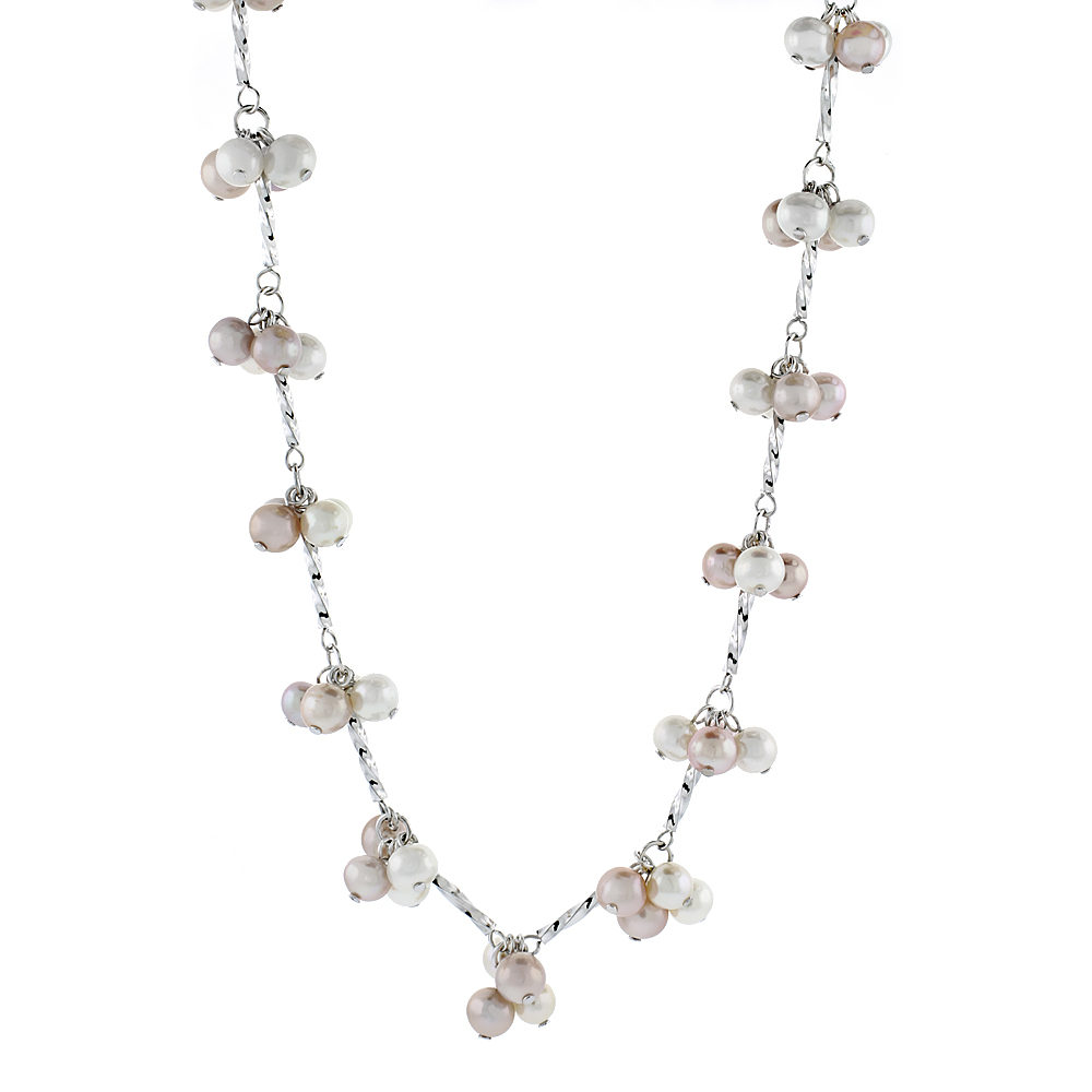 Sterling Silver Pearl Necklace 5.5 mm Freshwater, 16.5 inch long