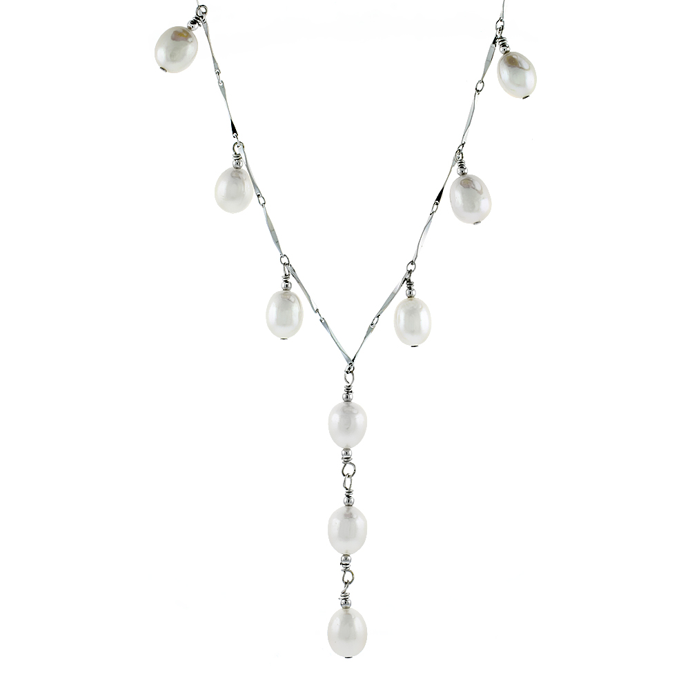 Sterling Silver Pearl Necklace 8.5 mm Freshwater, 16 inch long