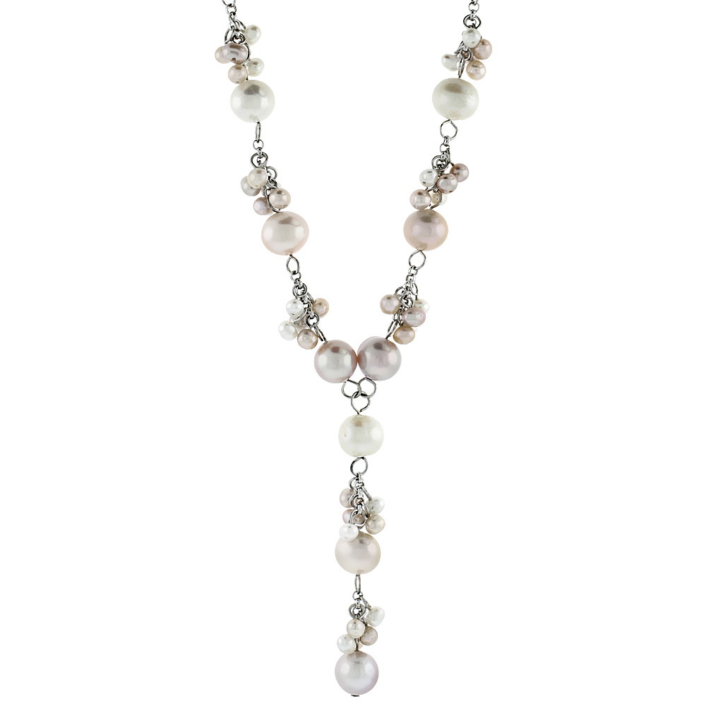 Sterling Silver Pearl Necklace 7.5 mm Freshwater, 15 inch long