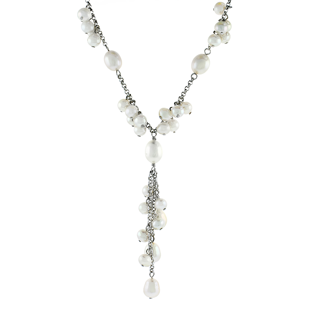 Sterling Silver Pearl Necklace 9 mm and 6 mm Freshwater, 16 inch long