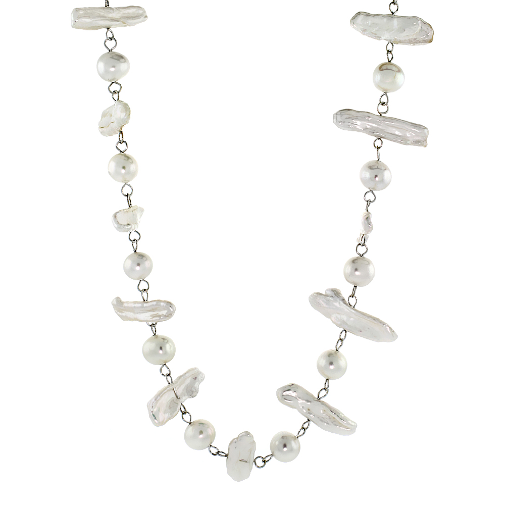 Sterling Silver Pearl Necklace 8 mm and 25 mm Freshwater, 18 inch long
