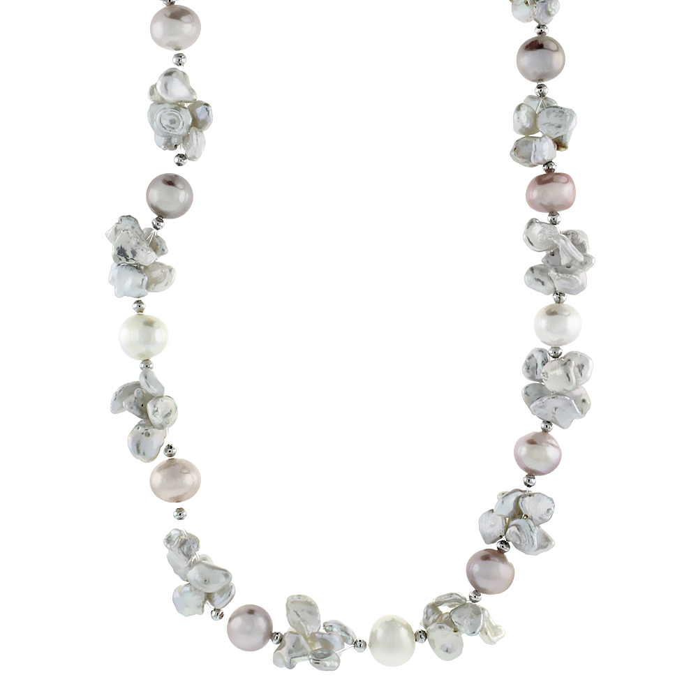 Sterling Silver Pearl Necklace 5 mm and 7.5 mm Freshwater, 18 inch long