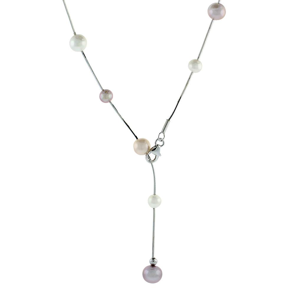Sterling Silver Pearl Necklace 7.5 mm and 8 mm Freshwater, 19.5 inch long