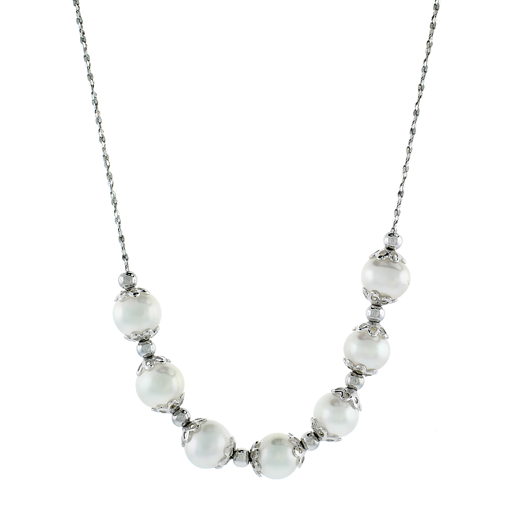 Sterling Silver Pearl Necklace 7 mm Freshwater, 16 inch long