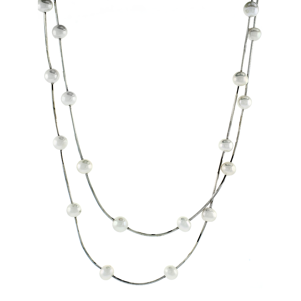 Sterling Silver Pearl Necklace 6 mm Freshwater, 16 inch long