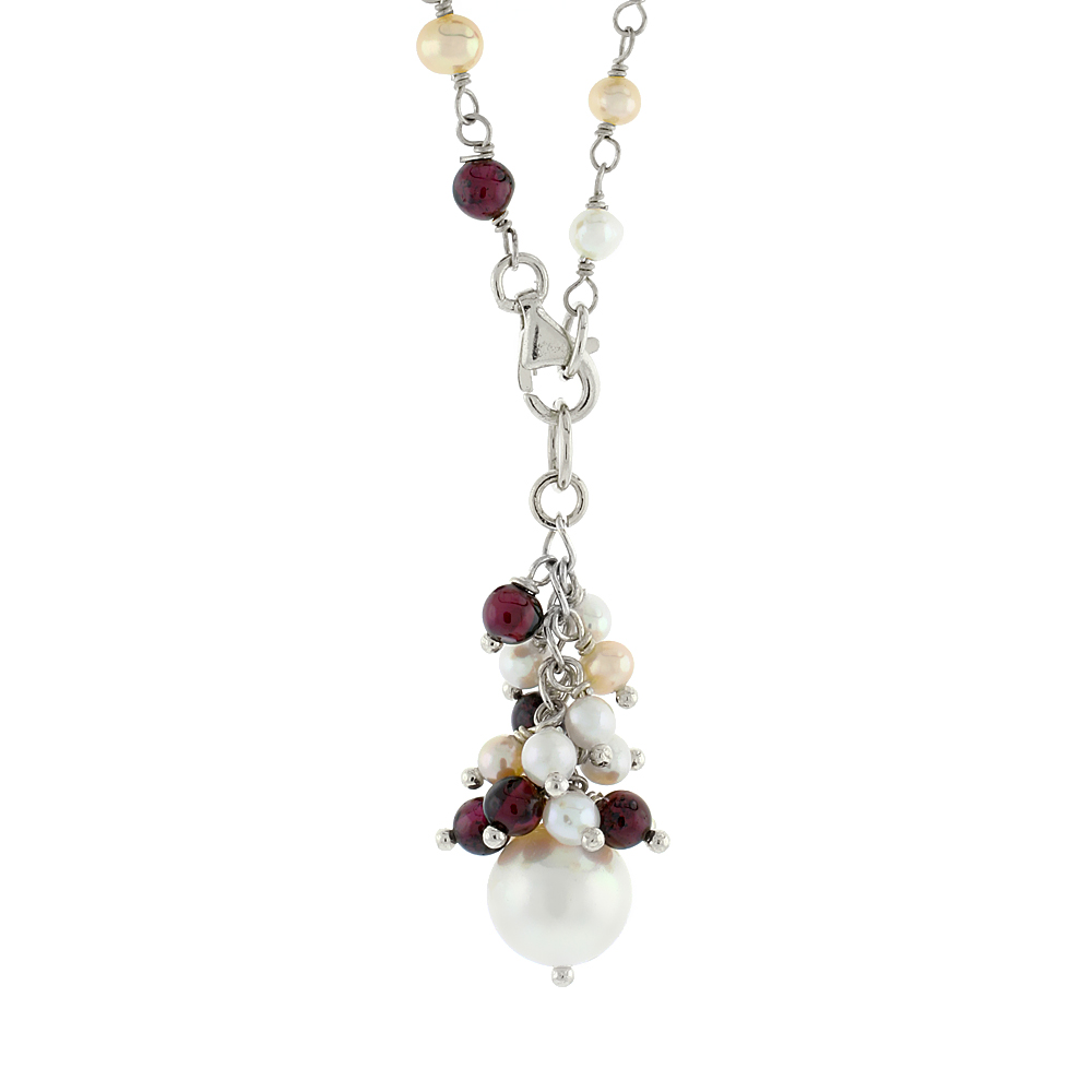 Sterling Silver Pearl, Amethyst and Peridot Necklace 4 mm Freshwater, 25 inch long