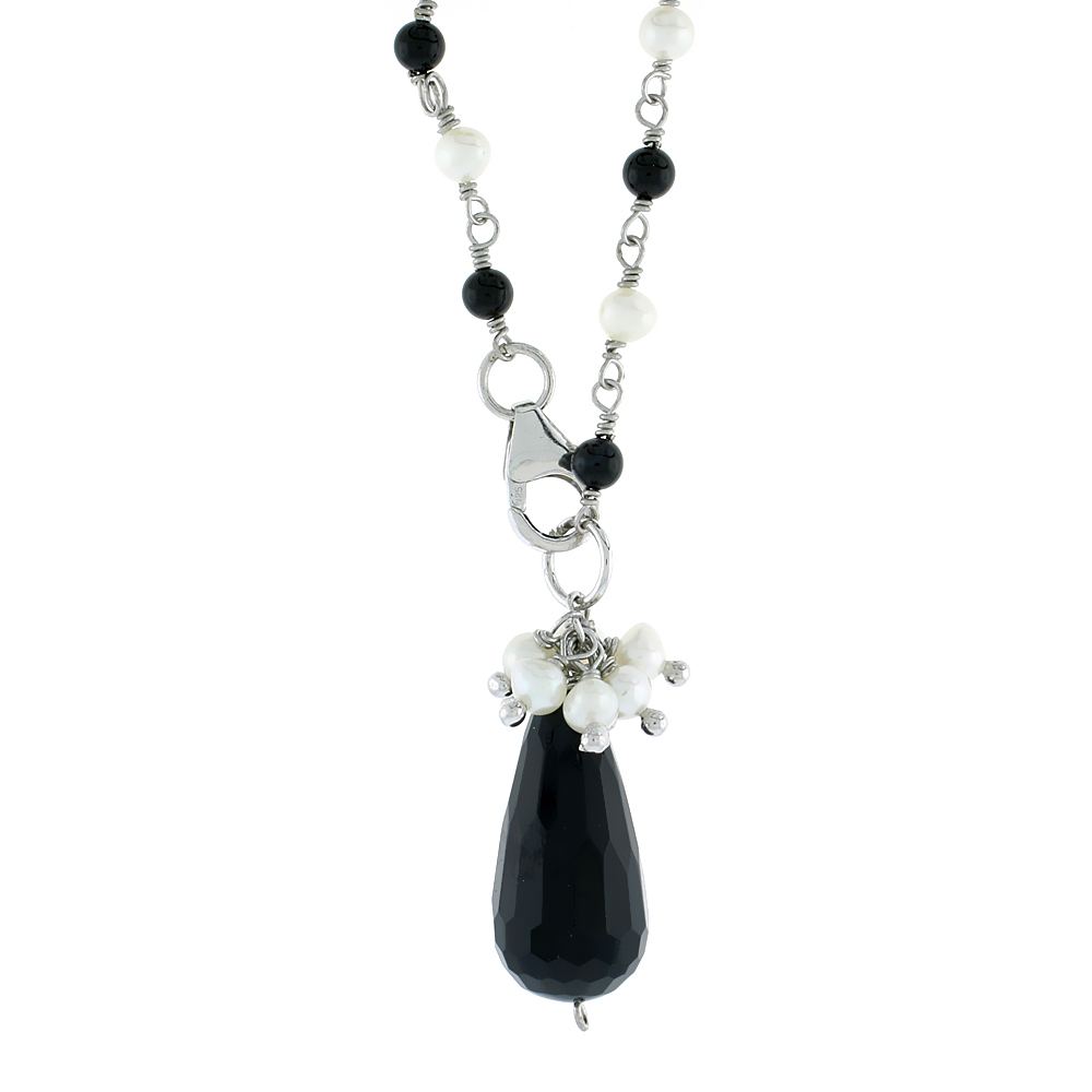 Sterling Silver Pearl & Onyx Necklace 4 mm Freshwater, 19 inch long