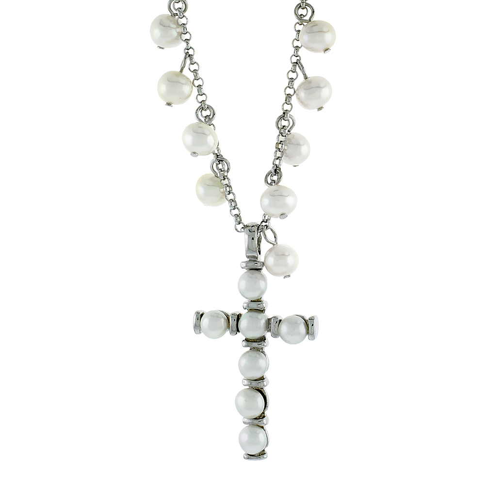 Sterling Silver Pearl Cross Necklace 5 mm and 4 mm Freshwater, 16.5 inch long