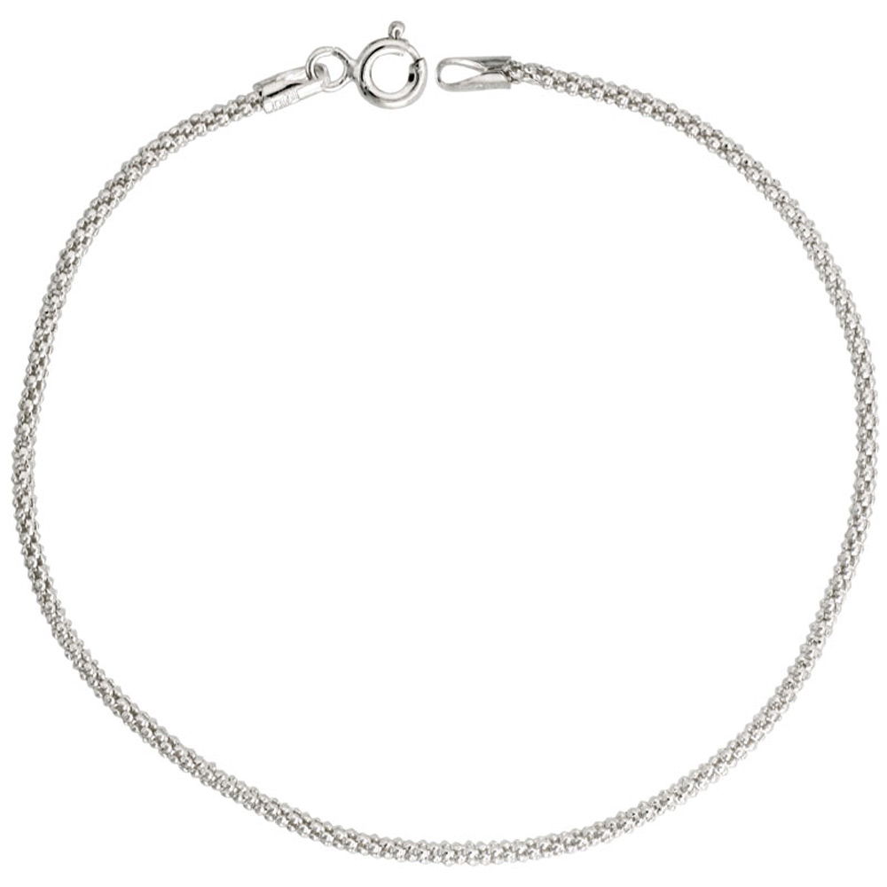 Sterling Silver Popcorn Chain 1.6mm Light Weight Nickel Free Italy, sizes 16 - 20 inch