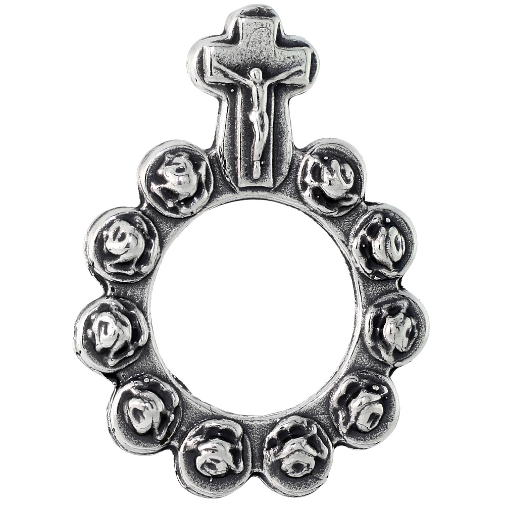 Sterling Silver Rosary Ring One Mystery Single Decade Ring Rosary, 1 7/16 inch