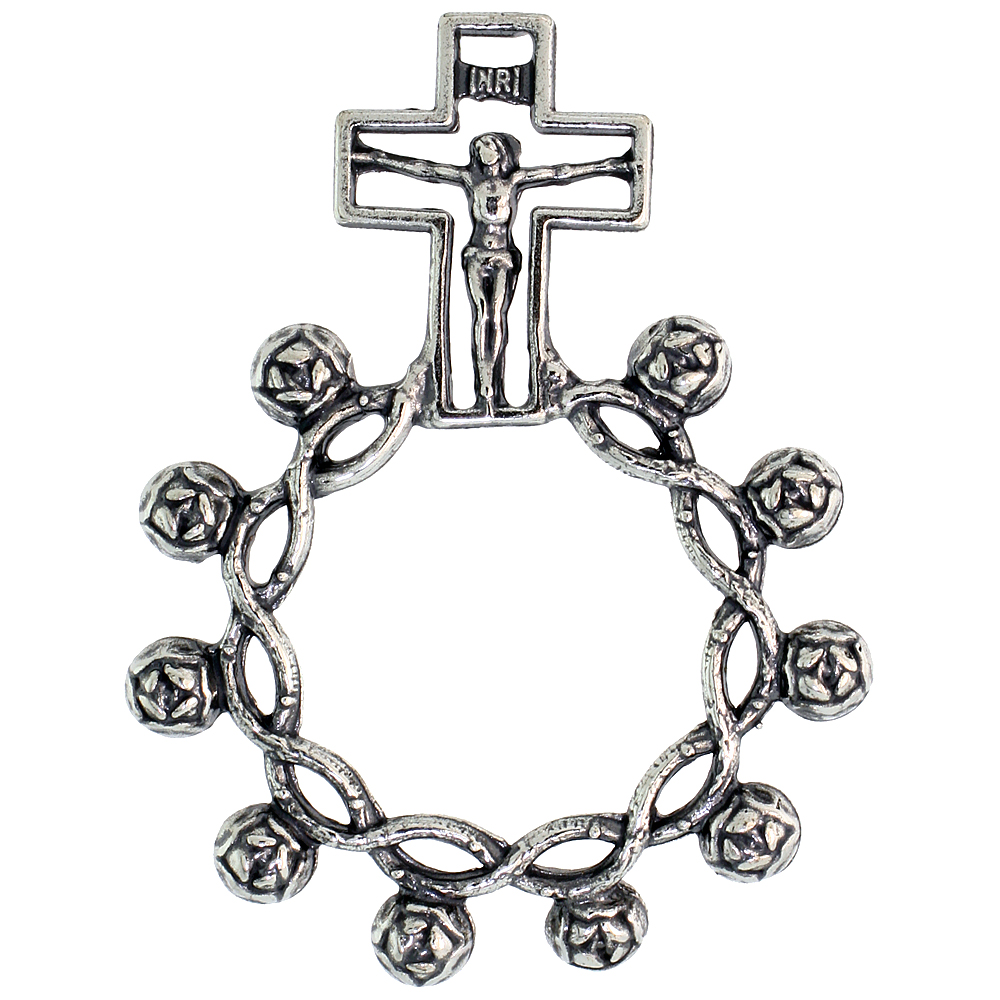Sterling Silver Knotted Beads Rosary Ring One Mystery Single Decade , 1 11/16 inch
