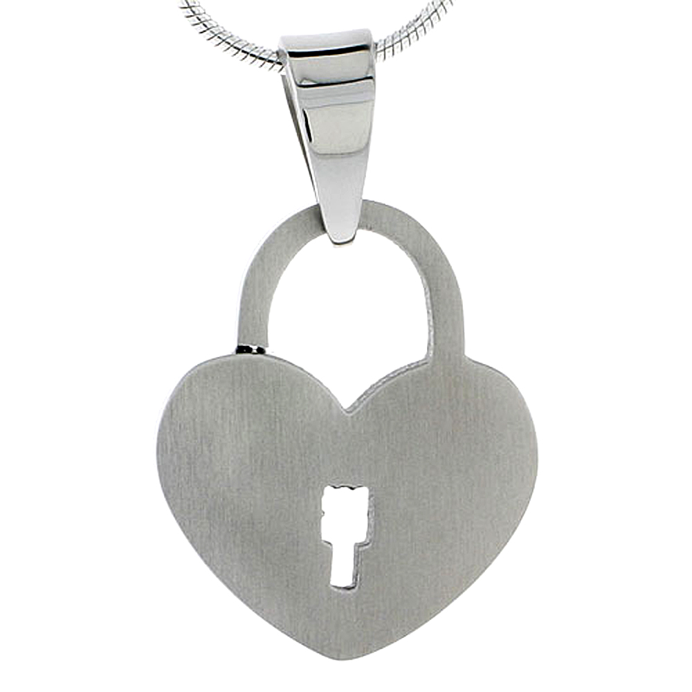 Stainless Steel Heart Padlock Necklace 7/8 inch tall, w/ 30 inch Chain