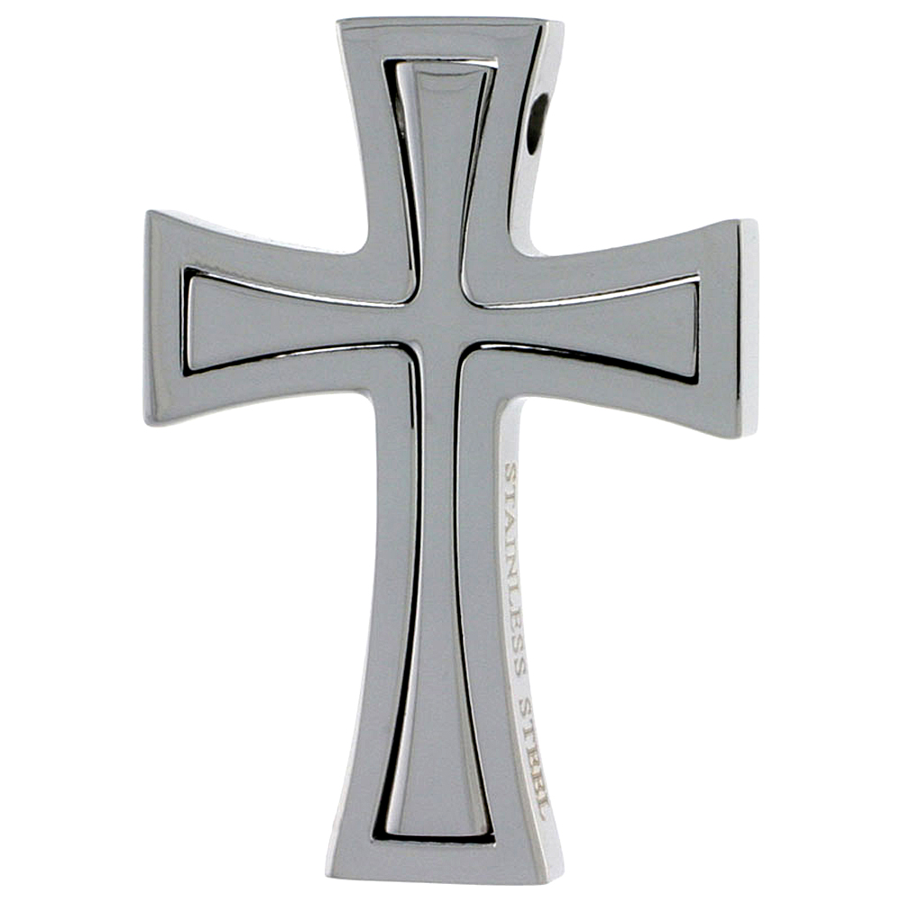 Stainless Steel Cross Necklace, 1 1/2 inch tall, w/ 30 inch Chain