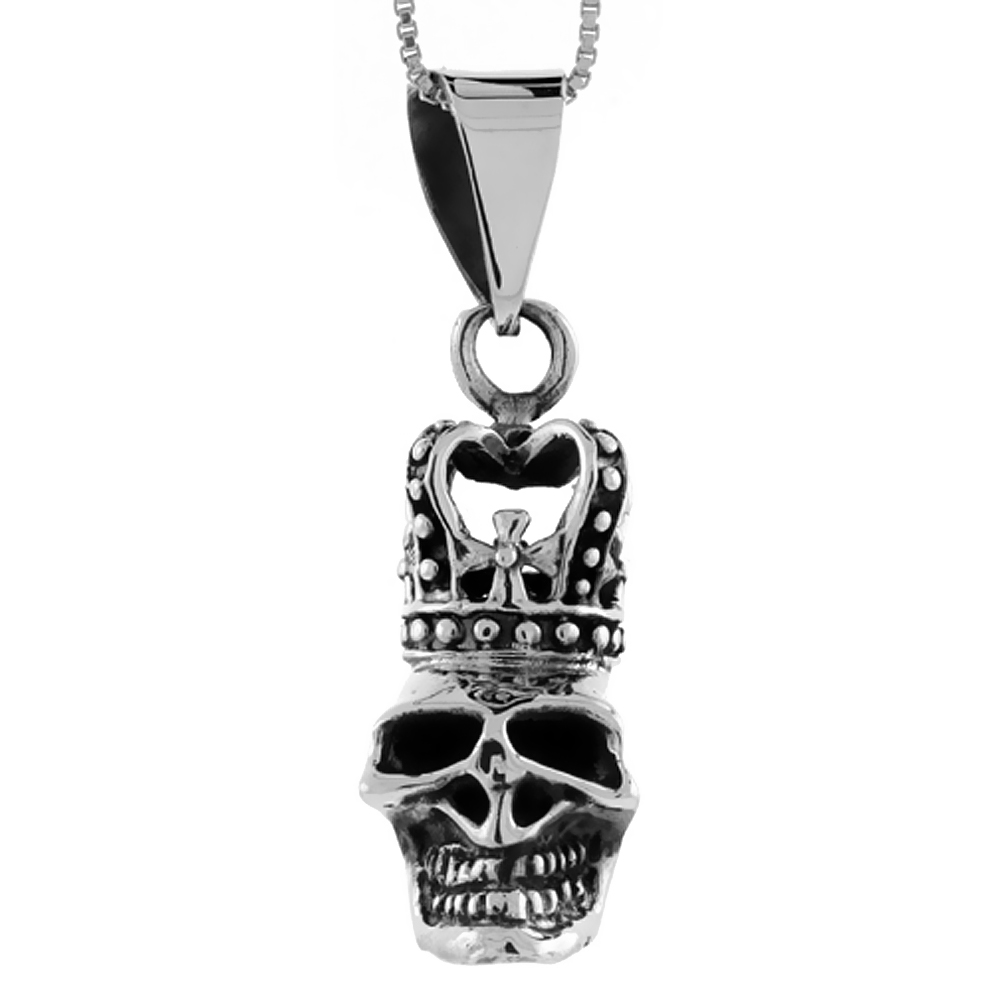 Sterling Silver Skull with Crown Pendant Handmade, 1 3/8 inch long
